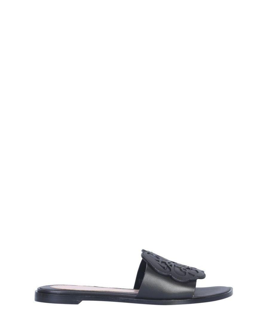 Image for ALEXANDER MCQUEEN WOMEN'S 611712WHXN01000 BLACK LEATHER SANDALS