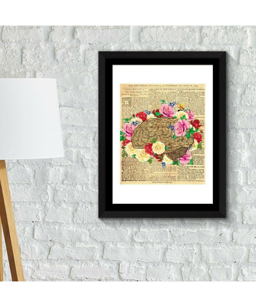 Image for Walplus Framed Art 2in1 Flowery Brain Poster wall decal, wall decal flowers, Framed Photo, Framed Art