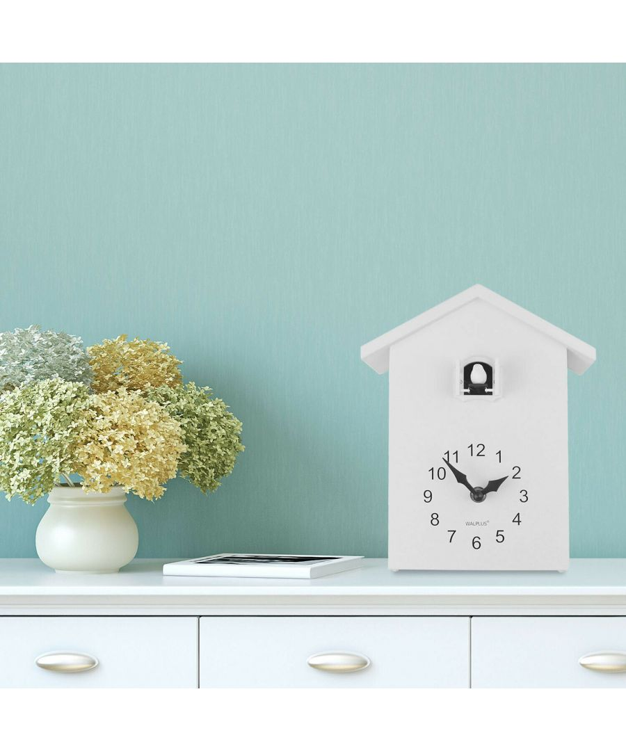 Image for Walplus White Cuckoo Table Clock - White Window clock, Bedroom, Living room, Modern, Home office essential, Gift