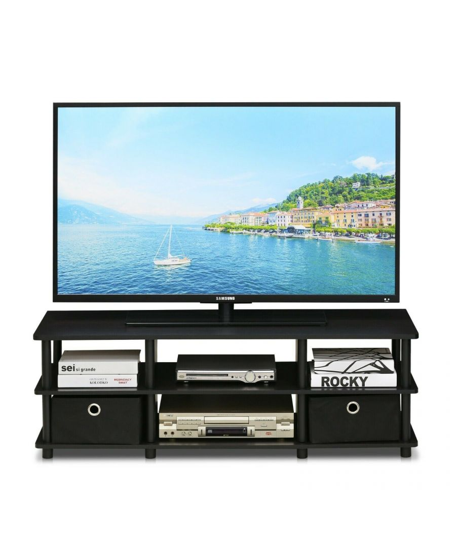 Image for Furinno Econ TV Entertainment Center with Storage Bins - Espresso