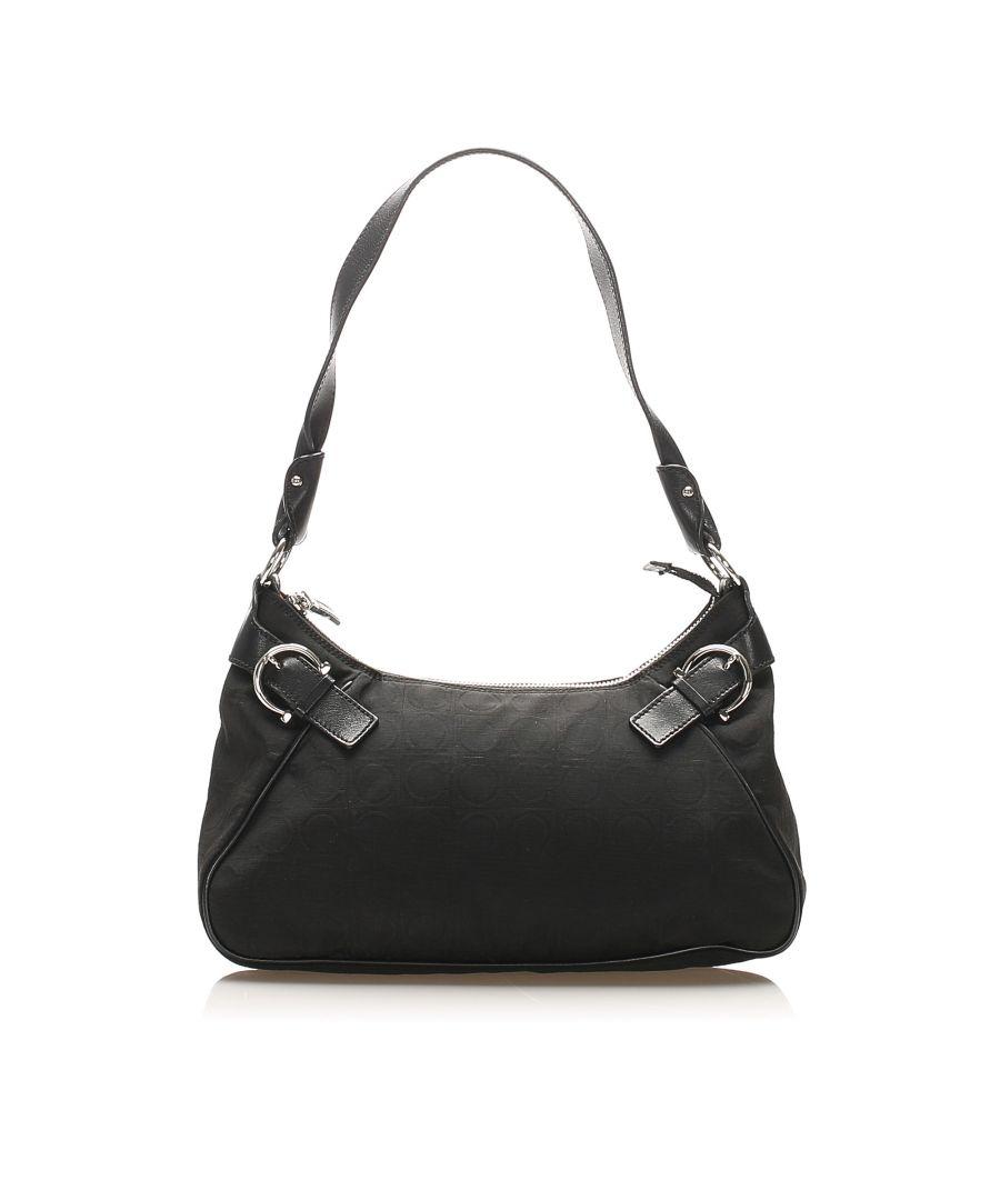 Image for Vintage Ferragamo Nylon Shoulder Bag Black