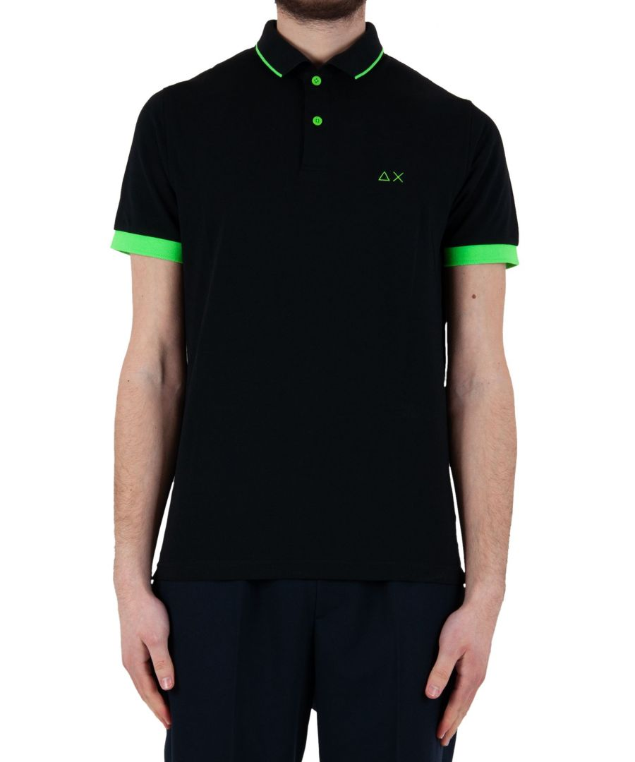 Image for SUN 68 MEN'S A3011411 BLACK COTTON POLO SHIRT
