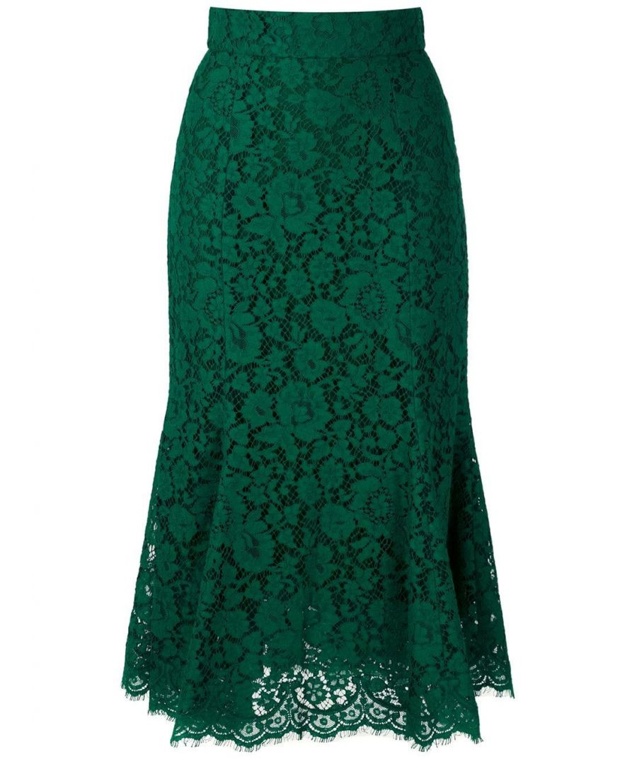 Image for DOLCE E GABBANA WOMEN'S F4BT8THLMIJV0237 GREEN COTTON SKIRT
