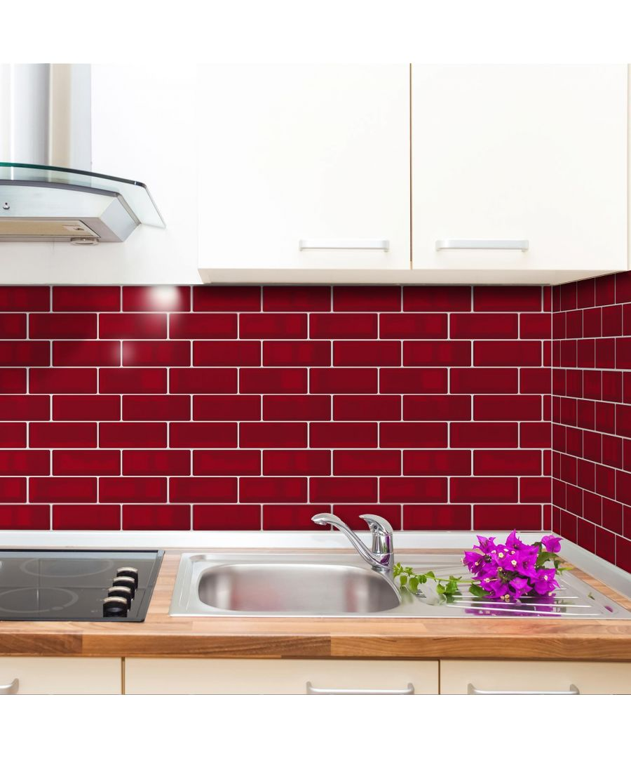 Image for Cherry Red Retro Glossy 3D Sticker Tile 30 x 15cm - 12 pcs Tiles Wall Stickers, Kitchen, Bathroom, Living room, peel and stick