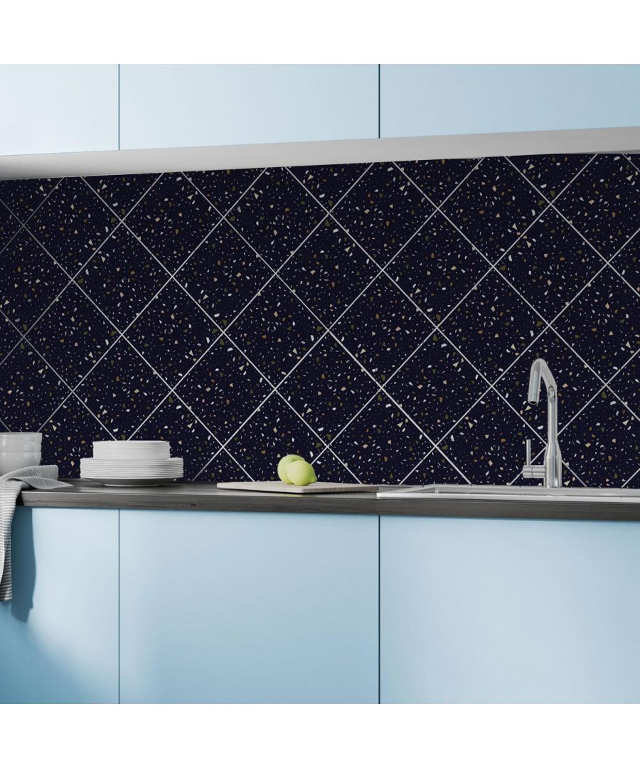 Image for Dark Blue Metallic Silver Terrazzo Wall Tile Sticker Set - 15cm (6inch) - 24pcs one pack