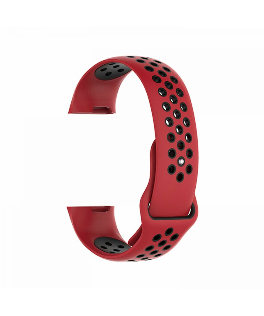 Image for Aquarius Nike Silicone Watch Band for Fitbit Charge 3 Red/Black Large