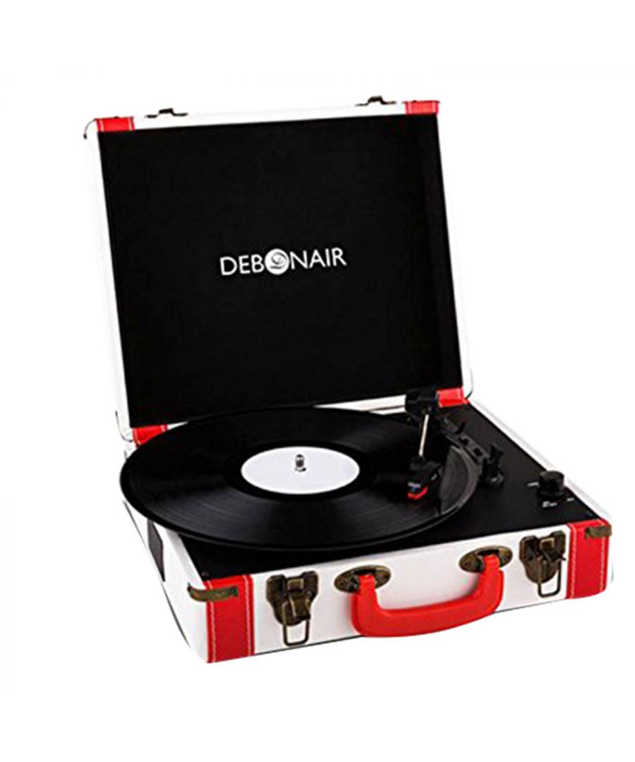 Image for Debonair Retro Turntable With Bluetooth and USB Input White and Red