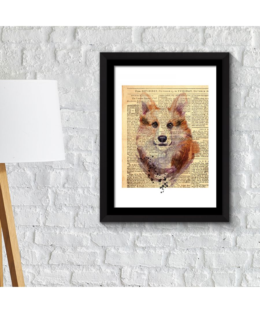 Image for FA2111 - COM - WS2111 + FR030 - Framed Art 2in1 Fox Newspaper Animal Poster