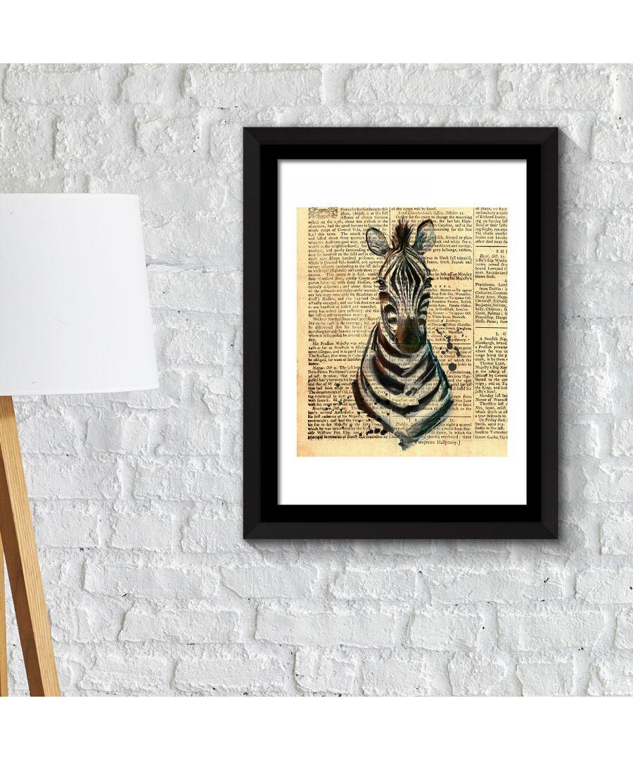 Image for FA2113 - COM - WS2113 + FR030 - Framed Art 2in1 Zebra Newspaper Animal Poster
