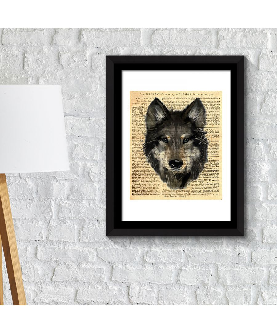Image for FA2114 - COM - WS2114 + FR030 - Framed Art 2in1 Wolf Newspaper Animal Poster