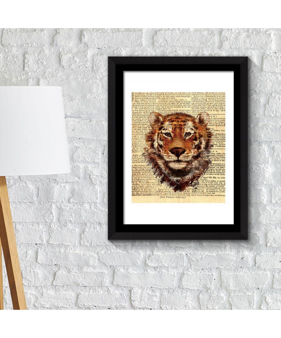 Image for FA2115 - COM - WS2115 + FR030 - Framed Art 2in1 Tiger Newspaper Animal Poster