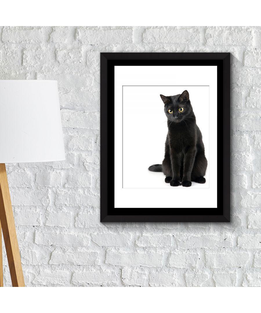 Image for FA2124 - COM - WS2124 + FR030 - Framed Art 2in1 Black Cat thinking Poster