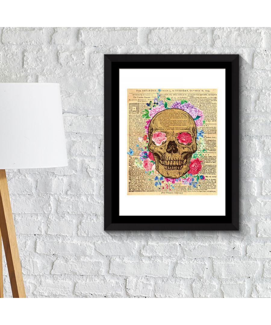 Image for FA2127 - COM - WS2127 + FR030 - Framed Art 2in1 Flowery Skeleton Poster