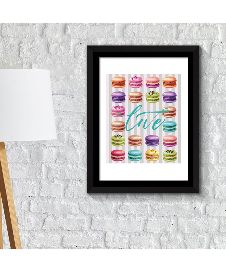 Image for FA2140 - COM - WS2140 + FR030 - Framed Art 2in1 Macaron Desserts Poster