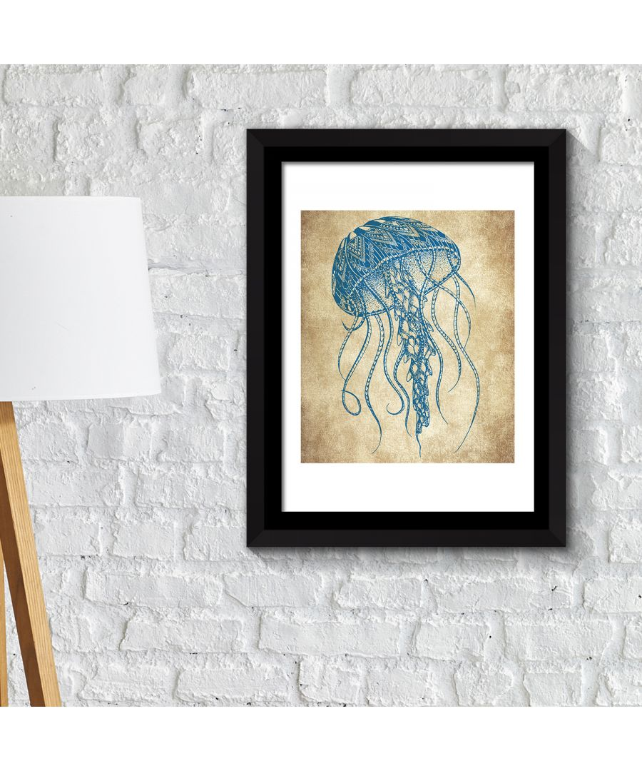 Image for FA2146 - COM - WS2146 + FR030 - Framed Art 2in 1 Jelly Fish Wall Art Poster