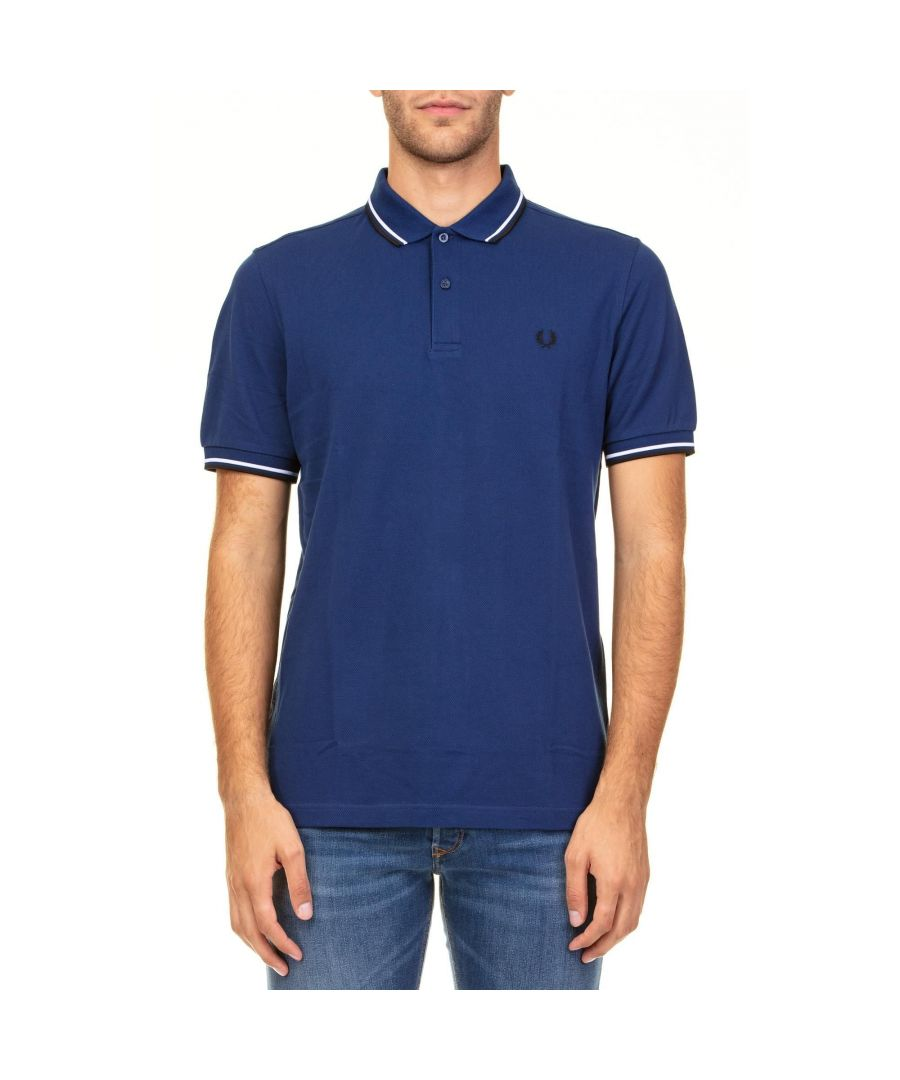 Image for FRED PERRY MEN'S FPM360027126 BLUE COTTON POLO SHIRT
