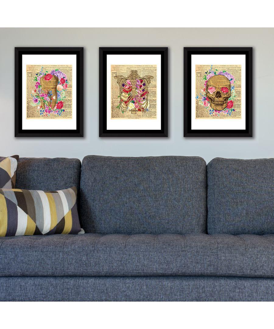 Image for FA5061 - COM - WS2129 + WS2128 + WS2127 + FR030 - Framed Art Flowery Skeleton