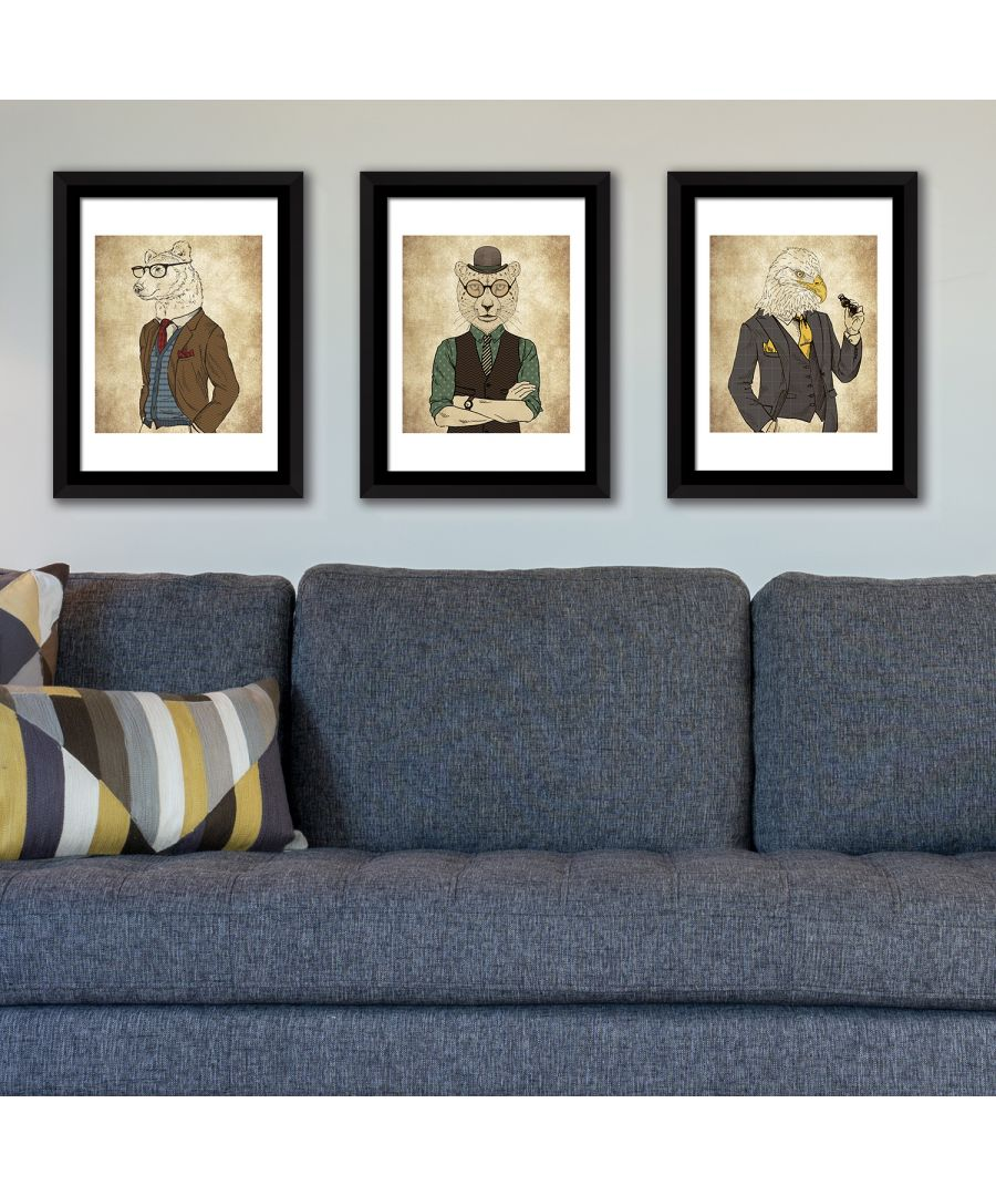 Image for FA5064 - COM - WS2139 + WS2138 + WS2137 + FR030 - Framed Art Animals Fashion