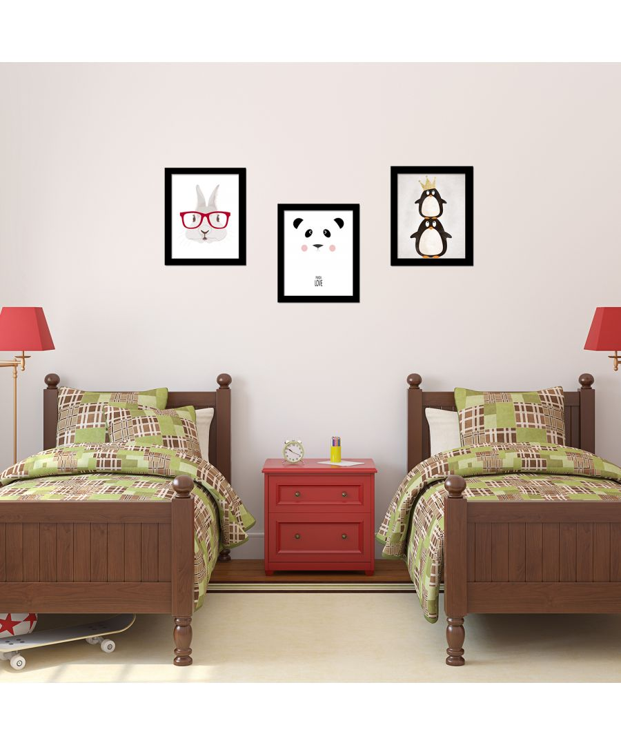 Image for FA5078 - COM - FR030 + CP016M + CP036M + CP060M - Penguin Art Canvas Printing + Cartoon Panda Art Canvas Printing + Rabbit Art Canvas Printing