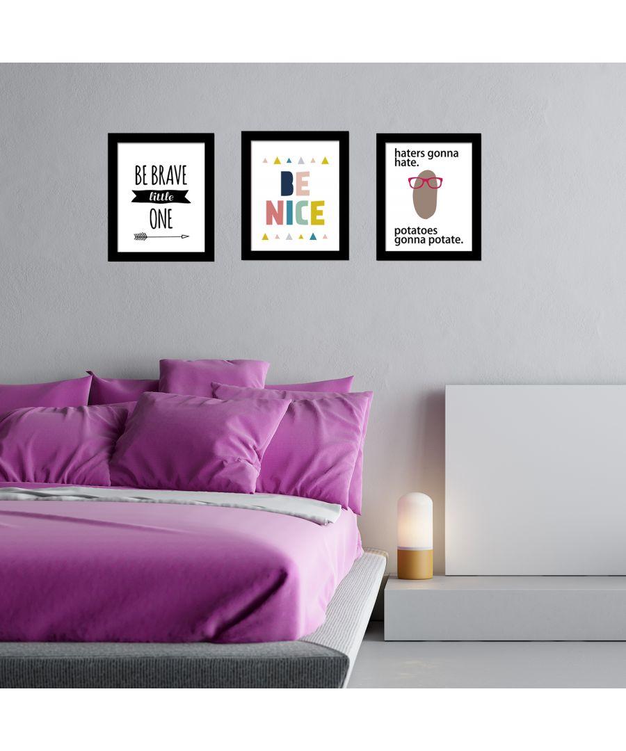 Image for FA5084 - COM - FR030 + CP012M + CP020M + CP021M - Mr. Potato Art Canvas Printing + Be Nice Art Canvas Printing + Be Arave Little One Art Canvas Printing