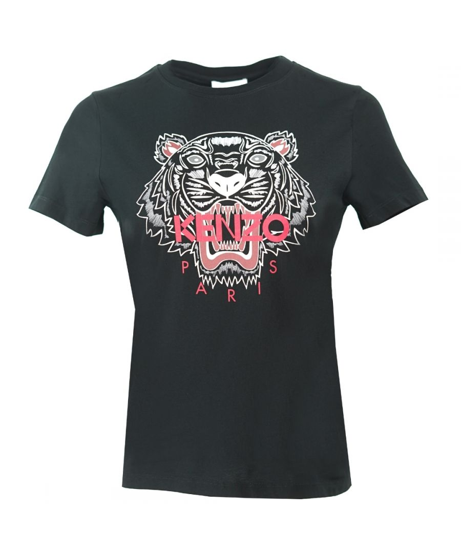 Image for Kenzo Womens Tiger Icon Logo Black T-Shirt