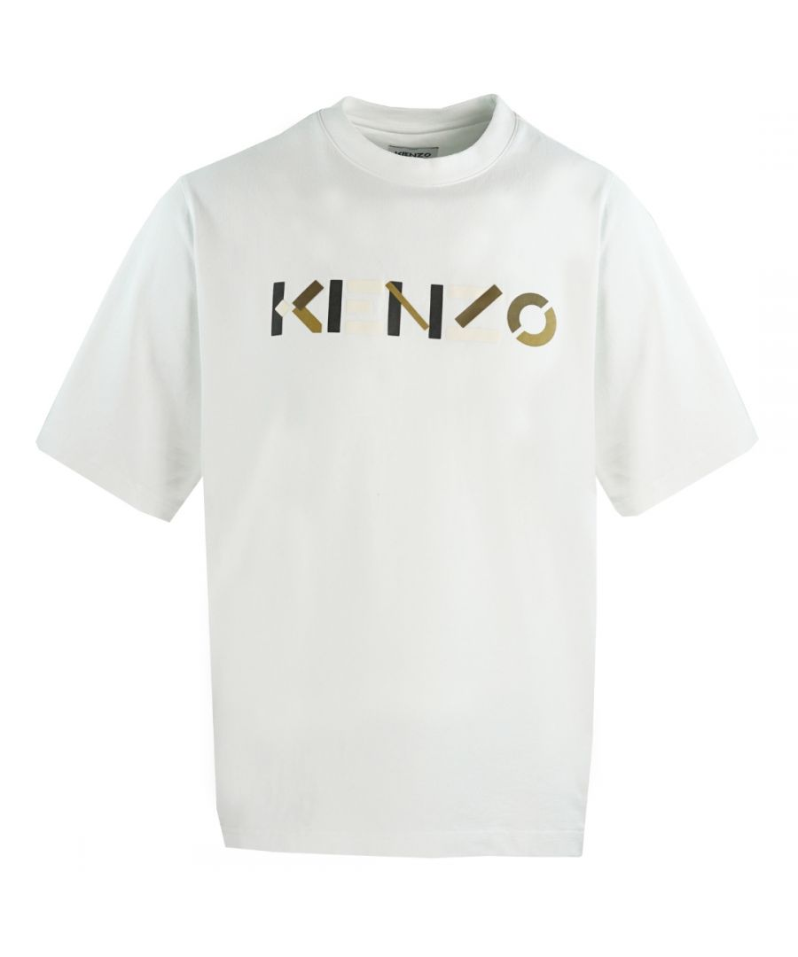 Image for Kenzo Mens Multicolour Logo White Oversized T-Shirt