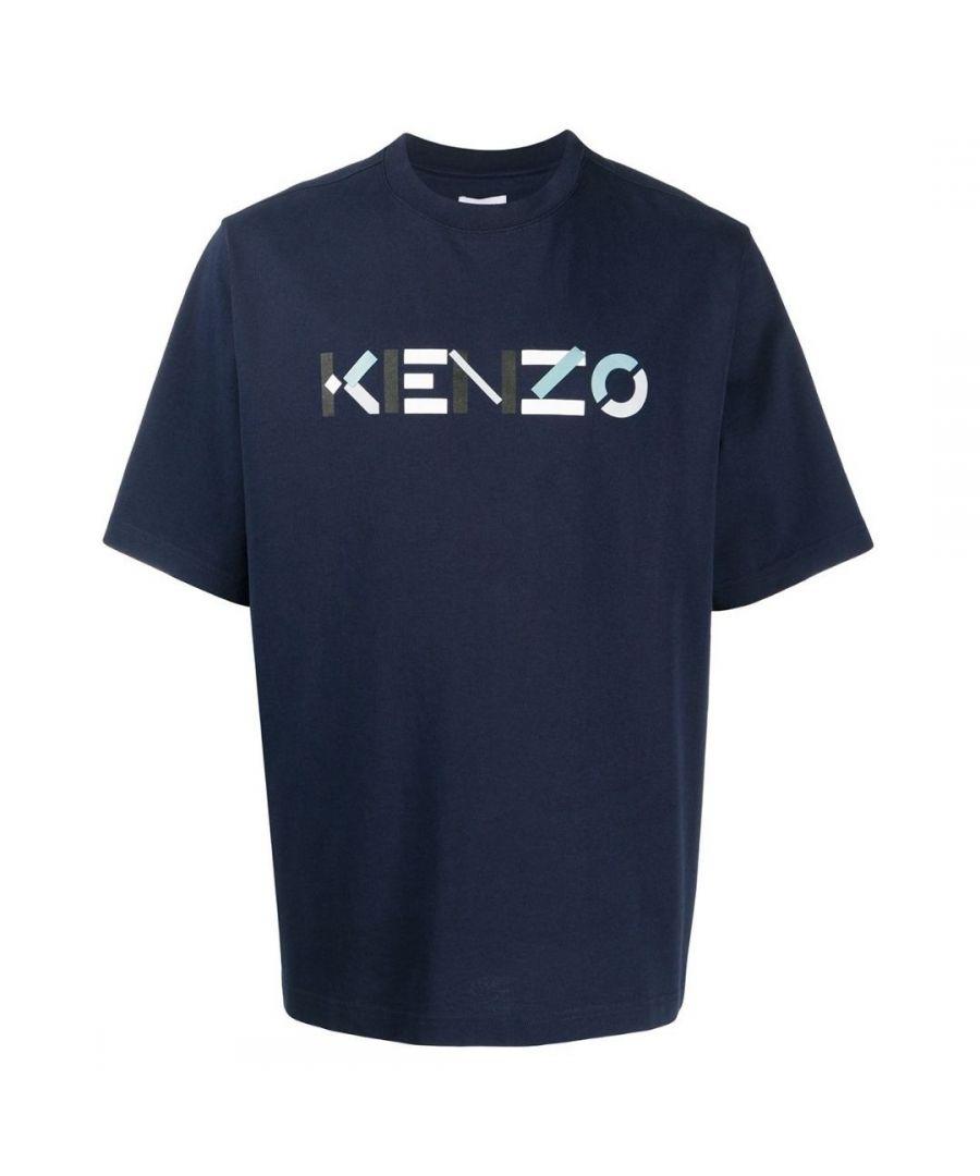 Image for Kenzo Mens Multicolour Classic Logo Navy Oversized T-Shirt