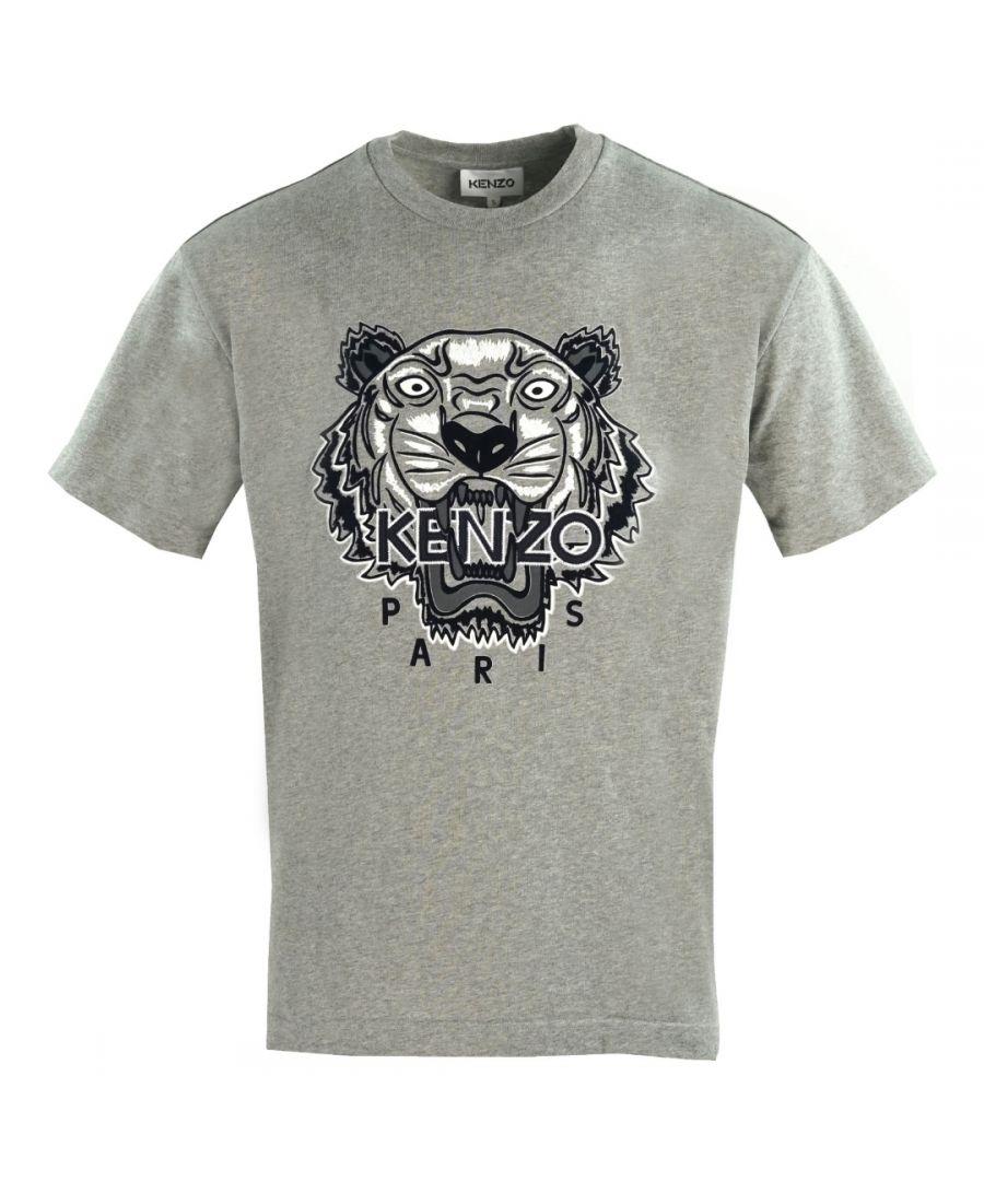 Image for Kenzo Mens Tiger Icon Logo Grey Oversized T-Shirt