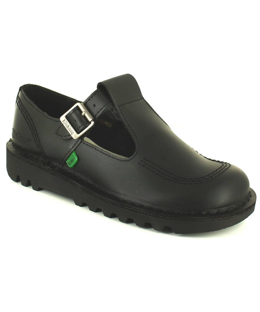 Image for Kickers Aztec Older Girls Leather School Shoes Black