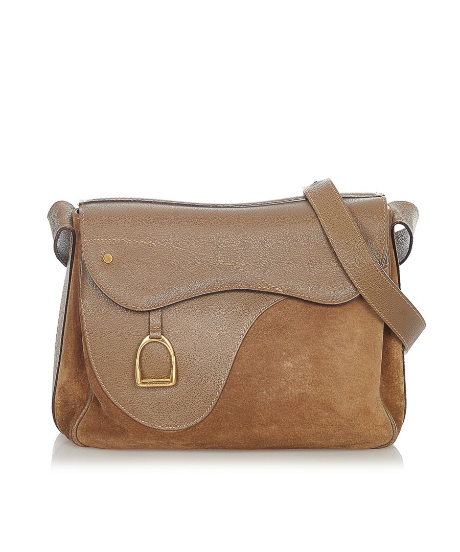 Image for Vintage Gucci Saddle Suede Crossbody Bag Brown
