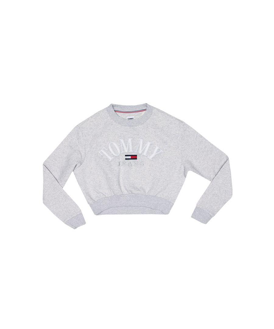 Image for Women's Tommy Hilfiger Logo Cropped Sweatshirt in Grey Heather