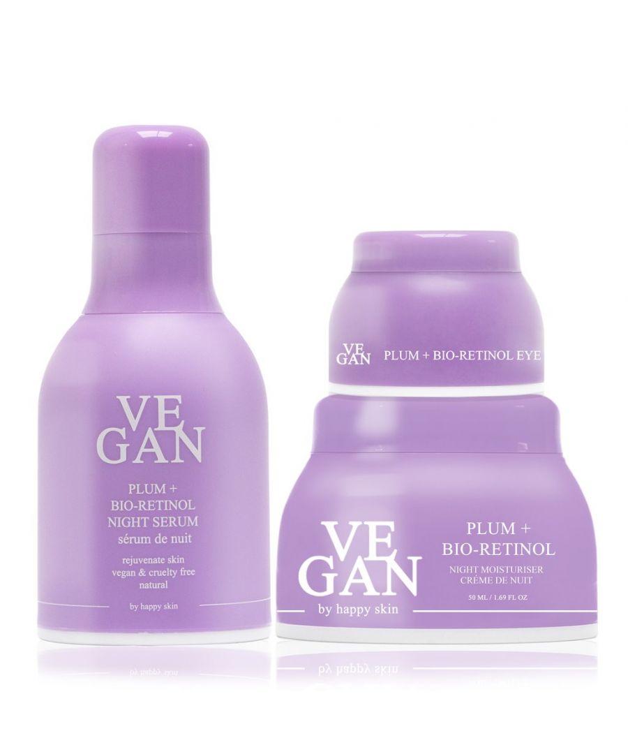 Image for PLUM + BIO-RETINOL night cream 50ml + PLUM + BIO-RETINOL serum 30ml Vegan - PLUM + BIO-RETINOL eye cream 10ml