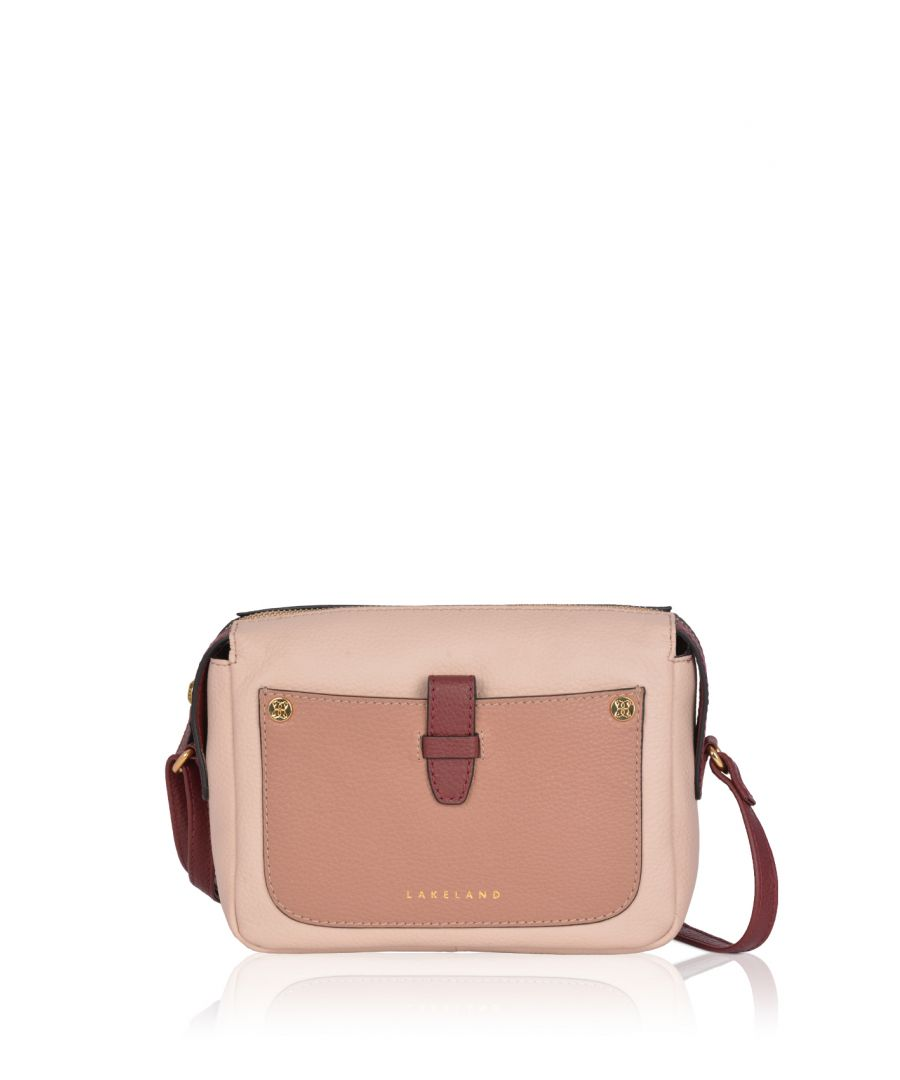 Image for Fairfield Contrast Leather Cross Body Bag in Blush Pink