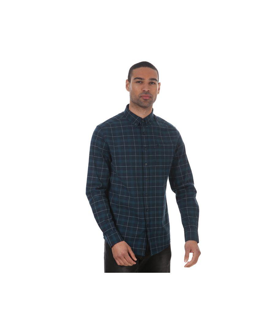 Image for Men's Farah Mackay Long Sleeve Shirt in Navy