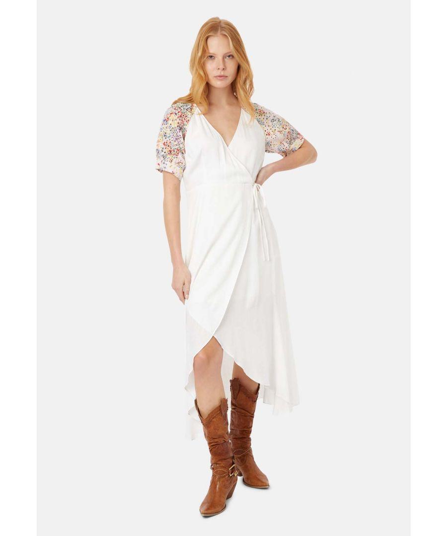 Image for Asymmetric Midi Wrap Dress in White