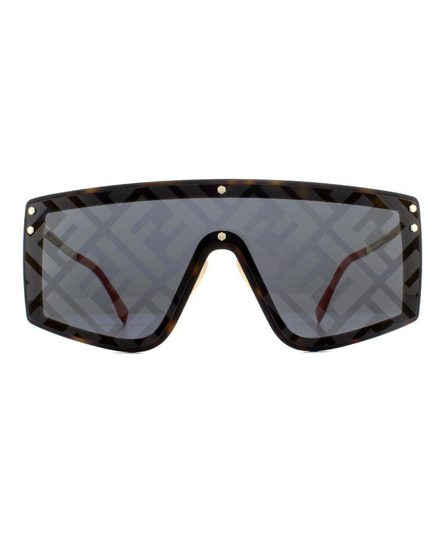 Image for Fendi Sunglasses M0076/G/S 086 UB Dark Havana Rubber Gold Grey Silver Monogram Pattern Mirror
