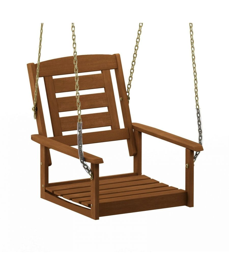 Image for Furinno Tioman Hardwood Single Hanging Porch Swing with Chain, Natural, Garden furniture, Outdoor furniture