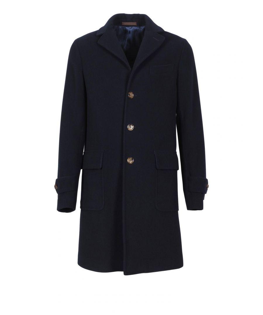 Image for ELEVENTY MEN'S 979CS3180CAS28032 BLUE WOOL COAT