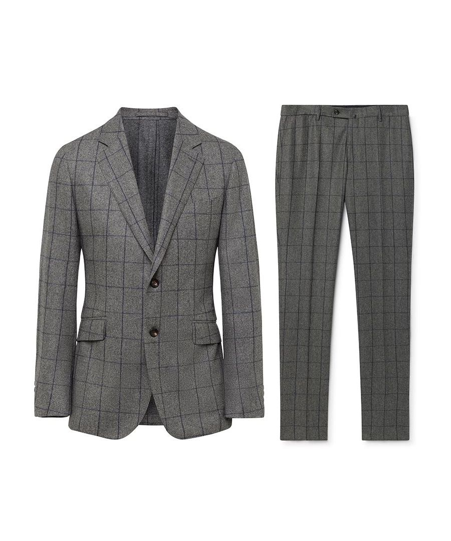 Image for Men's Hackett Flannel Windowpane Suit in Grey & Blue