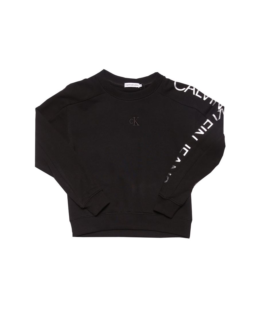 Image for Girl's Calvin Klein Infant Logo Sleeve Crew Sweat in Black