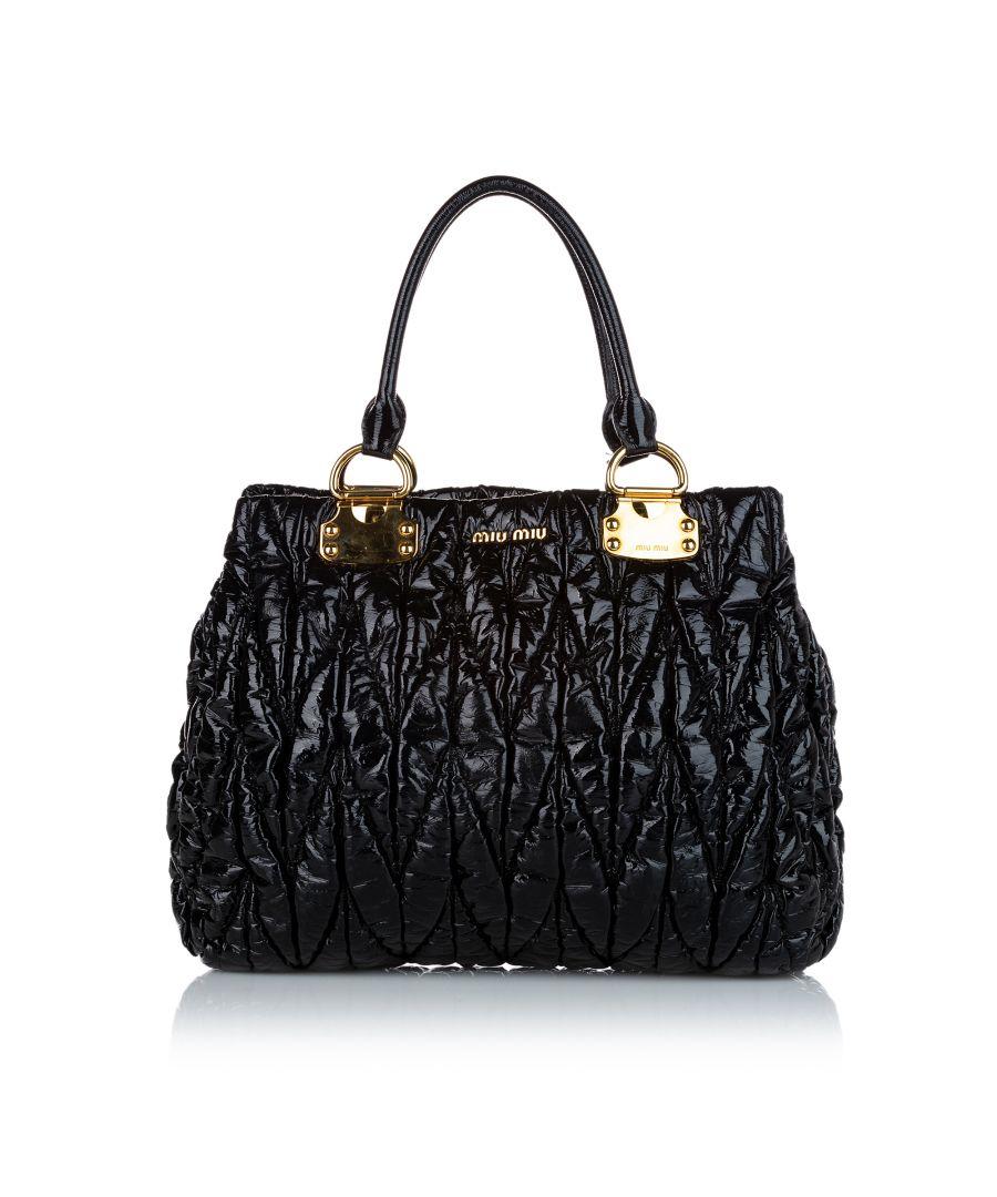 Image for Vintage Miu Miu Matelasse Patent Leather Tote Bag Black