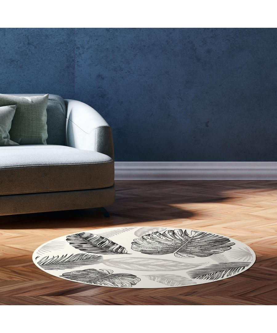Image for Sketched Tropical Leafs Mat 99 cm Diameter Floor Mats, Floor Rugs