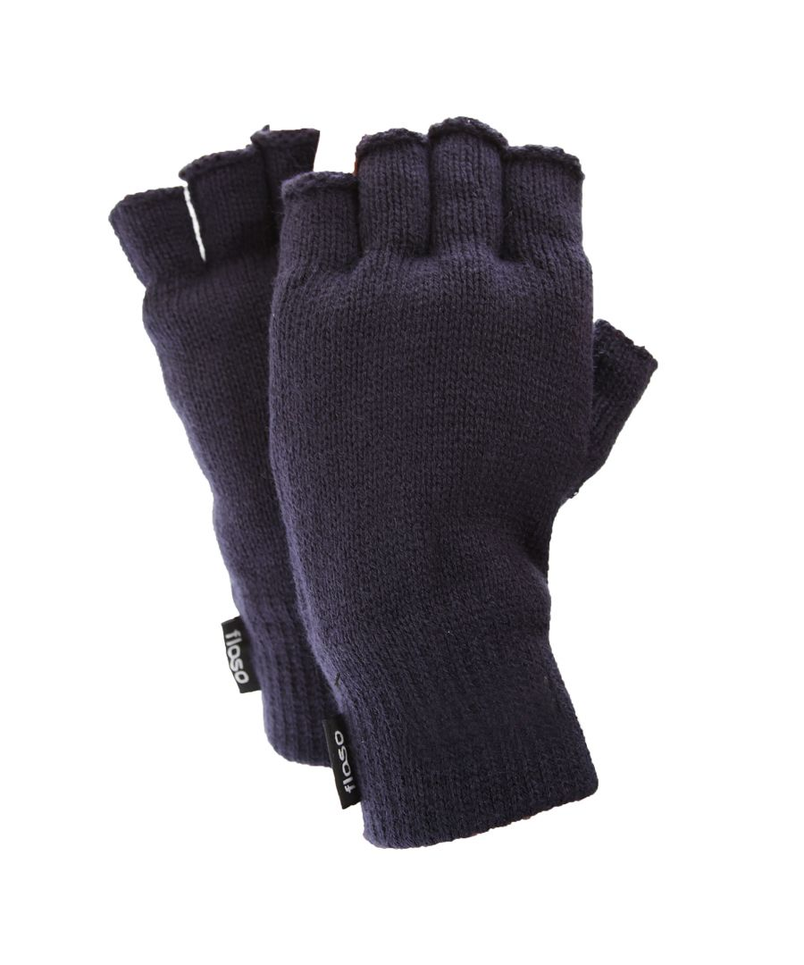 Image for FLOSO Mens Thinsulate Thermal Fingerless Gloves (3M 40g) (Navy)