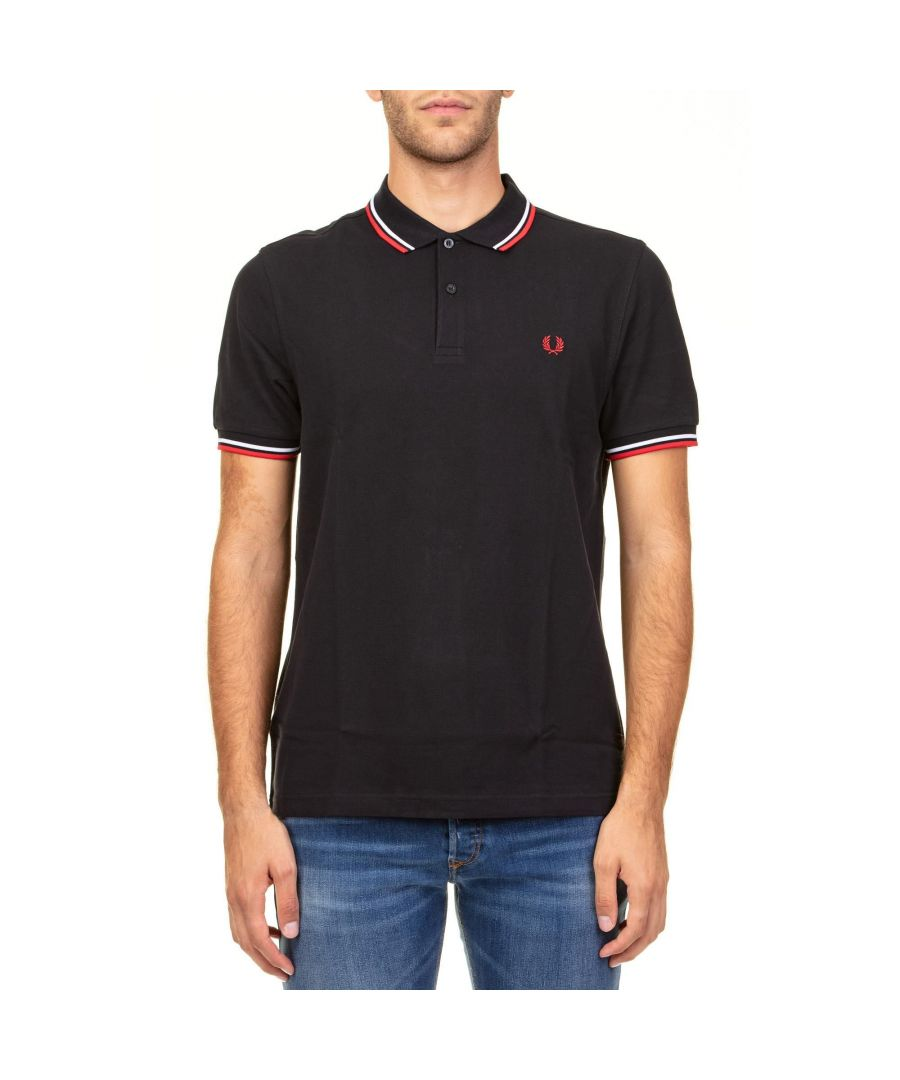 Image for FRED PERRY MEN'S FPM360027471 BLUE COTTON POLO SHIRT
