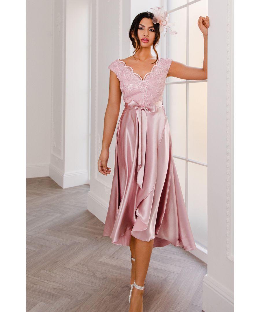 Image for Pink Satin Dip Hem Dress
