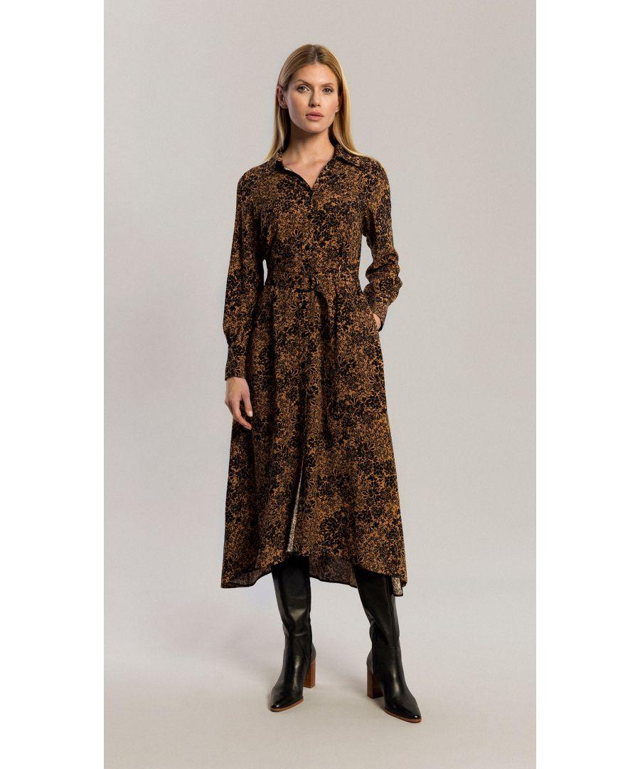 Image for Amber Floral Brown Dress