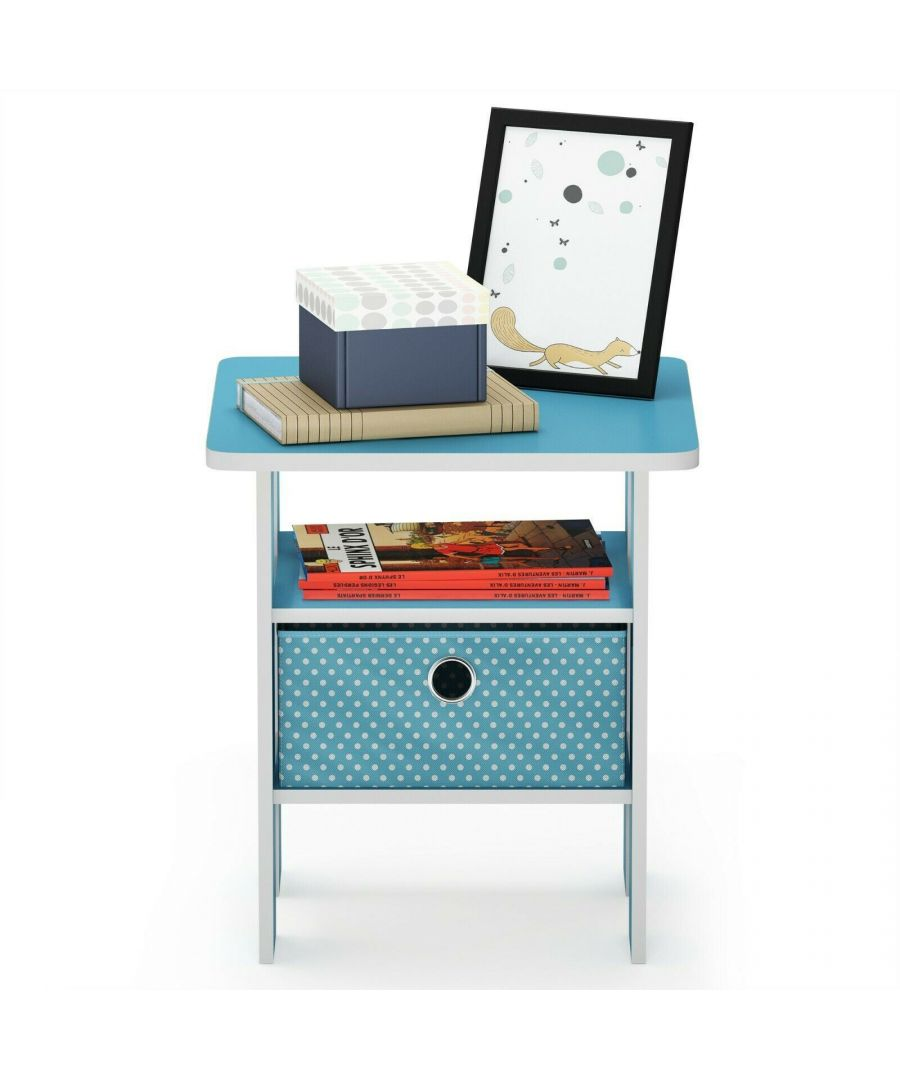 Image for Furinno Andrey End Table Nightstand with Bin Drawer - Light Blue