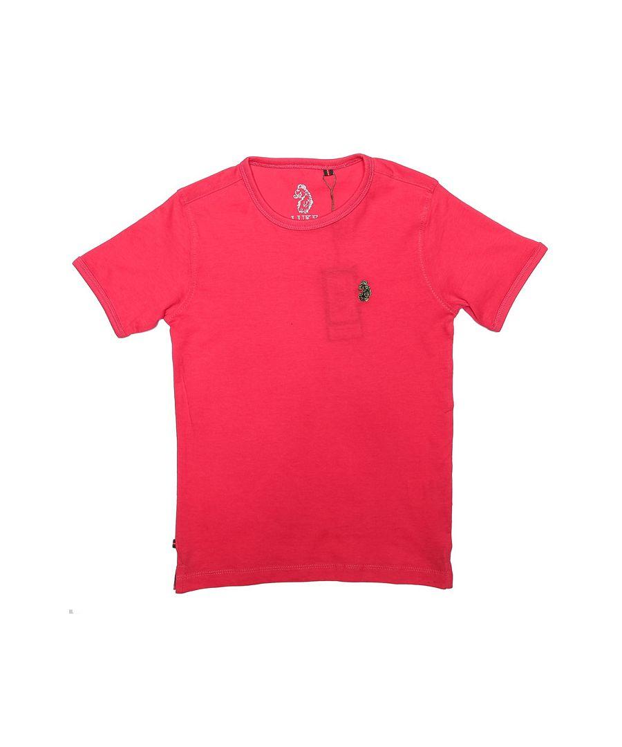 Image for Boys' Luke 1977 Junior Trouser Snake Crew T-Shirt in Pink