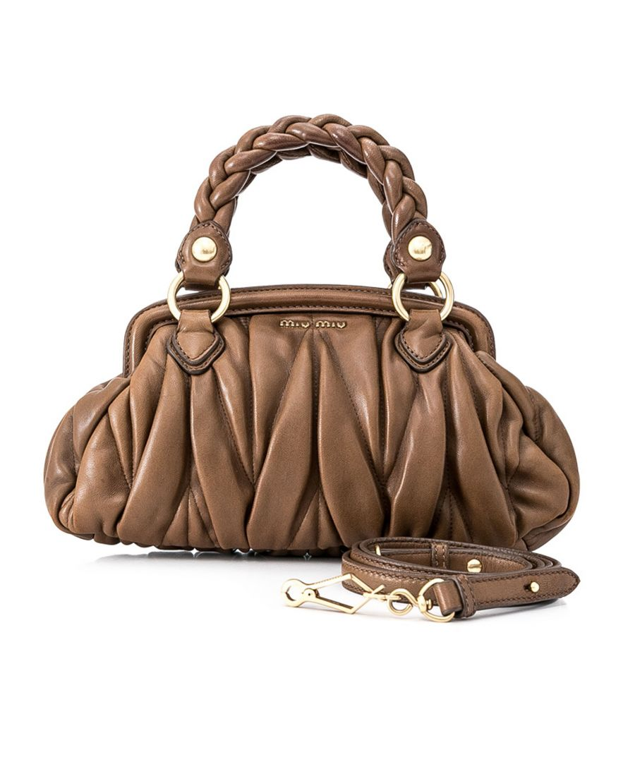 Image for Vintage Miu Miu Matelasse Leather Satchel Brown