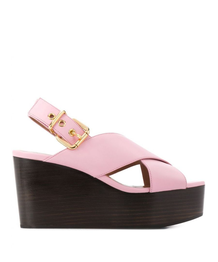 Image for MARNI WOMEN'S ZPMS004208P286200C20 PINK LEATHER WEDGES